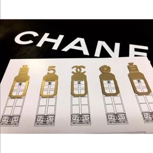 🔥 CHANEL Parfume   Goldtone Metal Bookmark